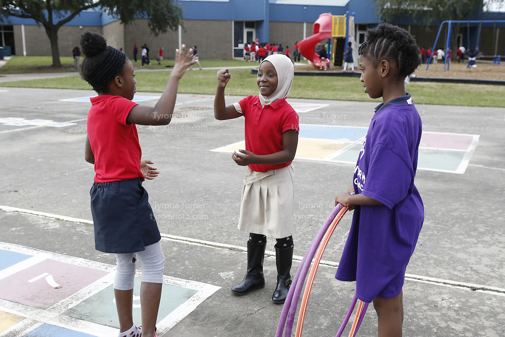 Playworks<br /> <br /> <br /> Cummings Elementary School<br /> 10455 S Kirkwood Rd, Houston, TX 77099<br /> <br /> 2nd Grade recess<br /> the girls in red shirts have RWJF releases<br /> the girl in purple (Queena Bates) does not have RWJF release yet- the school is working on that.