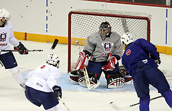 Goalkeeper Andrej Hocevar at practice of Slovenian national team before Hockey IIHF WC 2008 in Halifax,  on May 01, 2008 in Metro Centre, Halifax, Canada.  (Photo by Vid Ponikvar / Sportal Images)