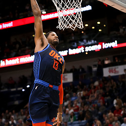 Feb 14, 2019; New Orleans, LA, USA; Oklahoma City Thunder forward Paul George (13) dunks against the New Orleans Pelicans during the second quarter at the Smoothie King Center. Mandatory Credit: Derick E. Hingle-USA TODAY Sports