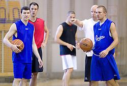 Vlado Ilievski, Klemen Lorbek, Andrej Zakelj and Miha Glavas at first practice session of KK Union Olimpija in new season 2010/2011 on August 23, 2010, in Arena Tivoli, Ljubljana, Slovenia.  (Photo by Vid Ponikvar / Sportida)