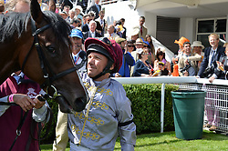 FRANKIE DETTORI riding Shalaa at the Qatar Goodwood Festival - Ladies Day held at Goodwood Racecourse, West Sussex on 30th July 2015.