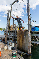 Carl Pottle loads bait onto a lobster boat at Great Wass Lobster in Beals, Maine.