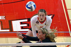 18 November 2016:  Courtney Pence cuts in to get a dig in front of Ella Francis during an NCAA women's volleyball match between the Northern Iowa Panthers and the Illinois State Redbirds at Redbird Arena in Normal IL (Photo by Alan Look)