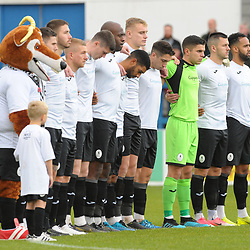TELFORD COPYRIGHT MIKE SHERIDAN AFC Telford players observe a Remembrance Day tribute prior to the Vanarama National League Conference North fixture between AFC Telford United and Boston on Saturday, November 2, 2019.<br /> <br /> Picture credit: Mike Sheridan/Ultrapress<br /> <br /> MS201920-028