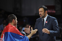 Ex-NBA star Vlade Divac of Serbia at medal ceremony after the 2014 FIBA World Basketball Championship Final match between USA and Serbia at the Palacio de los Deportes, on September 14, 2014 in Madrid, Spain. Photo by Tom Luksys  / Sportida.com <br /> ONLY FOR Slovenia, France