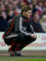 LIVERPOOL, ENGLAND - Saturday, January 26, 2008: Liverpool's super-star substitute captain Steven Gerrard MBE watches from the sidelines during the FA Cup 4th Round match against Havant and Waterlooville at Anfield. (Photo by David Rawcliffe/Propaganda)