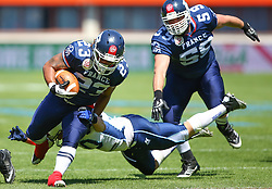 07.06.2014, Ernst Happel Stadion, Wien, AUT, American Football Europameisterschaft 2014, Spiel um Platz 3, Frankreich (FRA) vs Finnland (FIN), im Bild Nguendjo Stephen  Yepmo , (Team France, RB , #23),  Sami Toivonen, (Team Finland, LB, #10) und  Alexis  Stropiano , (Team France, OL , #59) // during the American Football European Championship 2014 game for place 3 between France and Finland at the Ernst Happel Stadion, Vienna, Austria on 2014/06/07. EXPA Pictures © 2014, PhotoCredit: EXPA/ Thomas Haumer