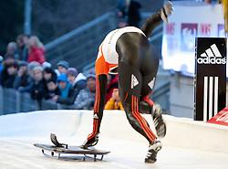 03.12.2011, Eiskanal, Igls, AUT, Viessmann FIBT Bob und Skeleton Weltcup, Teambewerb, Skeleton Herren, im Bild Alexander Kroeckel (GER) // Alexander Kroeckel of Germany Team competition men's Skeleton at FIBT Viessmann Bobsleigh and Skeleton World Cup at Olympic ice canal, Innsbruck Igls, Austria on 2011/12/03. EXPA Pictures © 2011, PhotoCredit: EXPA/ Johann Groder