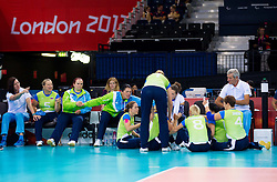 Team Slovenia during 5th - 8th place sitting volleyball match between National teams of Slovenia and Japan during Day 7 of the Summer Paralympic Games London 2012 on September 4, 2012, in ExCel Exhibition centre, London, Great Britain. Slovenia defeated Japan 3-0. (Photo by Vid Ponikvar / Sportida.com)