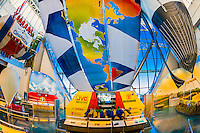 Interior view of the Anderson-Abruzzo Albuquerque International Balloon Museum, Balloon FIesta Park, Albuquerque, New Mexico USA
