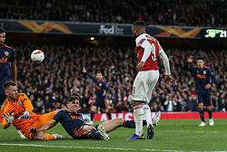 Alexandre Lacazette of Arsenal is thwarted by Neto  and Gabriel Paulista of Valencia- Mandatory by-line: Arron Gent/JMP - 02/05/2019 - FOOTBALL - Emirates Stadium - London, England - Arsenal v Valencia - UEFA Europa League Semi-Final 1st Leg