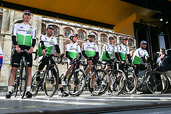 March 10, 2019 - Paris, Ile-de-France, France - Dimension Data cycling team poses during the team's presentation at the start of the 138,5km 1st stage of the 77th Paris-Nice cycling race between Saint-Germain-en-Laye and Saint-Germain-en-Laye in the west suburb of Paris, France, on March 10, 2019. Whether leaders of a team or merely a team-mate, the riders on the Paris-Nice try to excel, either individually or as a team. According to the stage profiles, changes in the general standings or some unexpected circumstance during the race, each rider adapts his objectives to the situation. (Credit Image: © Michel Stoupak/NurPhoto via ZUMA Press)