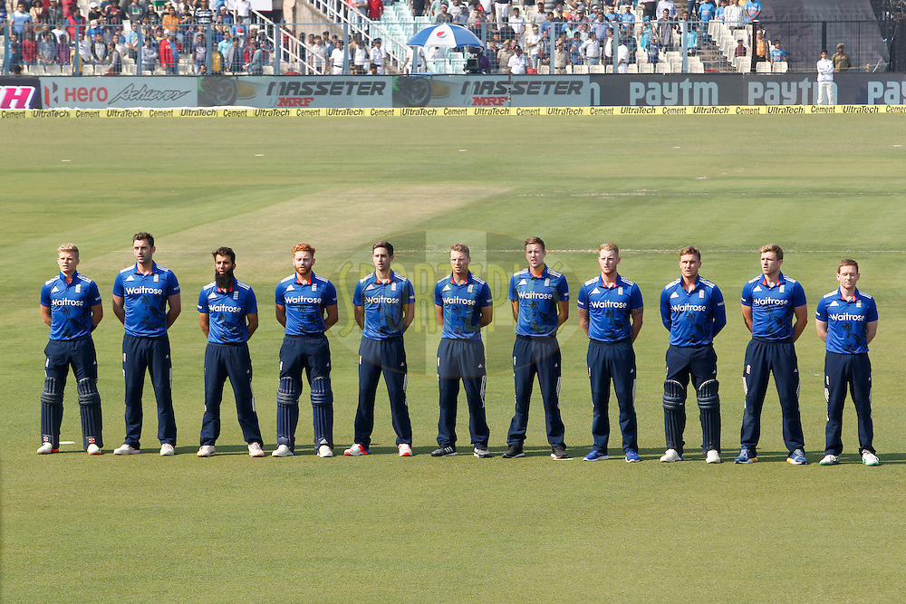 England's Players Stand for the National Anthem during the third One Day International (ODI) between India and England  held at Eden Gardens in Kolkata on the 22nd January 2017<br /> <br /> Photo by: Deepak Malik/ BCCI/ SPORTZPICS