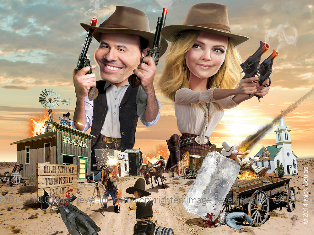 Caricature: Seth MacFarlane as Albert and Charlize Theron as Anna experience the Wild West as a minefield of murderous hazards. Penthouse Movie Review.