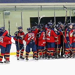 WHITBY, ON - MAR 14,  2017: Ontario Junior Hockey League ,playoff game between  the Whitby Fury and the Wellington Dukes , Wellington Dukes celebrates the win.<br /> (Photo by Ed McPherson / OJHL Images)