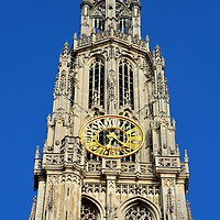 Cathedral of Our Lady Clock Spire Close Up in Antwerp, Belgium <br />