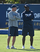 Nov 9, 2017; Costa Mesa, CA, USA;Los Angeles Chargers offensive coordinator Ken Whisenhunt (left) talks with coach Anthony Lynn during practice at the Hoag Performance Center.