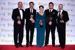 John Casali, Tim Cavagin, Nina Hartstone, Paul Massey and John Warhurst with their Bafta for Best Sound for Bohemian Rhapsody in the press room at the 72nd British Academy Film Awards held at the Royal Albert Hall, Kensington Gore, Kensington, London.