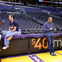 08 August 2014: Los Angeles Sparks forward/center Sandrine Gruda (7) and Atlanta Dream guard Celine Dumerc (9) are seen next to french journalist Benjamin Adler prior to the Los Angeles Sparks 80-77 overtime win over the Atlanta Dream, at the Staples Center, Los Angeles, California, USA.