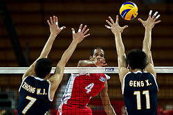 14.09.2014, Centennial Hall, Breslau, POL, FIVB WM, Kuba vs China, 2. Runde, Gruppe F, im Bild Weijun Zhong china #7 Javier Ernesto Jimenez Scull cuba #4 Xin Geng china #11 // Weijun Zhong china #7 Javier Ernesto Jimenez Scull cuba #4 Xin Geng china #11 during the FIVB Volleyball Men's World Championships 2nd Round Pool F Match beween Cuba and China at the Centennial Hall in Breslau, Poland on 2014/09/14. EXPA Pictures © 2014, PhotoCredit: EXPA/ Newspix/ Sebastian Borowski<br /> <br /> *****ATTENTION - for AUT, SLO, CRO, SRB, BIH, MAZ, TUR, SUI, SWE only*****