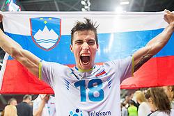 17-10-2015 BUL: Volleyball European Championship Slovenie - Italie, Sofia<br /> Semifinal in Arena Armeec Sofia / Klemen Cebulj #18 of Slovenia celebrates<br /> Photo: Vid Ponikvar / RHF<br /> +++USE NETHERLANDS ONLY+++