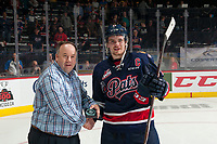 REGINA, SK - MAY 25: Sam Steel #23 of Regina Pats accepts the third star of the game against the Hamilton Bulldogs at the Brandt Centre on May 25, 2018 in Regina, Canada. (Photo by Marissa Baecker/CHL Images)