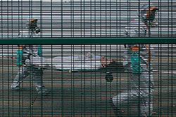 "04.04.2016, Geoffroy Guichard Stadium, Saint- Etienne, FRA, UEFA Euro, Sicherheitsübung, im Bild Sicherheitsübung nach einem angenommen Chemischen Angriff auf das EM Stadion für die Fussballeuropameisterschaft in Frankreich. // Firemen wearing chemical protective clothing attend to ""victims"" during a chemical attack mock exercice during a training as part of the security measures set for the Euro 2016 football championships at the Geoffroy Guichard Stadium in Saint- Etienne, France on 2016/04/04. EXPA Pictures © 2016, PhotoCredit: EXPA/ Pressesports/ MARTIN ALEX<br /> <br /> *****ATTENTION - for AUT, SLO, CRO, SRB, BIH, MAZ, POL only*****"