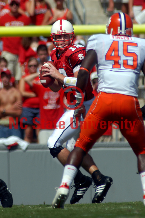 Pack quarterback Harrison Beck looks to pass up field against Clemson.