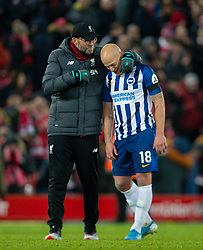 LIVERPOOL, ENGLAND - Saturday, November 30, 2019: Liverpool's manager Jürgen Klopp with Brighton & Hove Albion's Aaron Mooy after the FA Premier League match between Liverpool FC and Brighton & Hove Albion FC at Anfield. (Pic by David Rawcliffe/Propaganda)