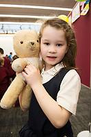 18/01/2018 Lily McIntyre Uacthar Ard with teddy Rocky, minus an ear that belong to her dad at the Teddy Bear Hospital at NUI Galway.Students get used to dealing with Kids and Kids get a Hospital experience with a difference. Photo:Andrew Downes, XPOSURE