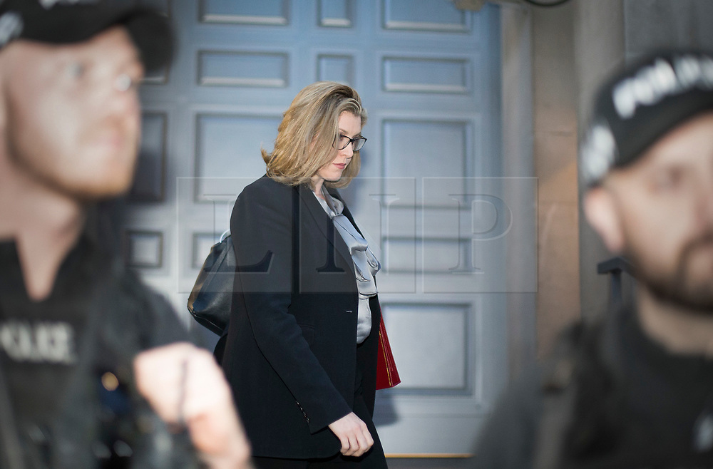 © Licensed to London News Pictures. 01/05/2019. London, UK. The new Secretary of State for Defence Penny Mordaunt is surrounded by police as she leaves the Ministry of Defence tonight. She was appointed after Gavin Williamson was sacked for leaking details of a National Security Council meeting discussing Huawei's limited access to help build the UK's new 5G network. Photo credit: George Cracknell/LNP