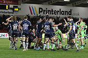 Sale Sharks cheer after their win during the Aviva Premiership match between Sale Sharks and Northampton Saints at the AJ Bell Stadium, Eccles, United Kingdom on 25 November 2017. Photo by George Franks.