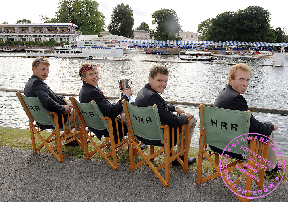 (L-R) MICHAL JELINSKI & MAREK KOLBOWICZ & ADAM KOROL & KONRAD WASIELEWSKI (ALL POLAND) POSE WITH QUEEN MOTHER CHALLANGE CUP DURING THE HENLEY ROYAL REGATTA. THEY WON AND PASS TO THE FINAL. THE YEARLY ROWING EVENT IS HELD OVER FIVE DAYS ON THE RIVER THAMES AT HENLEY. CREWS RACE OVER A COURSE 1 MILE AND 550 YARDS LONG...HENLEY , GREAT BRITAIN , JULY 5, 2009..( PHOTO BY ADAM NURKIEWICZ / MEDIASPORT )..PICTURE ALSO AVAIBLE IN RAW OR TIFF FORMAT ON SPECIAL REQUEST.