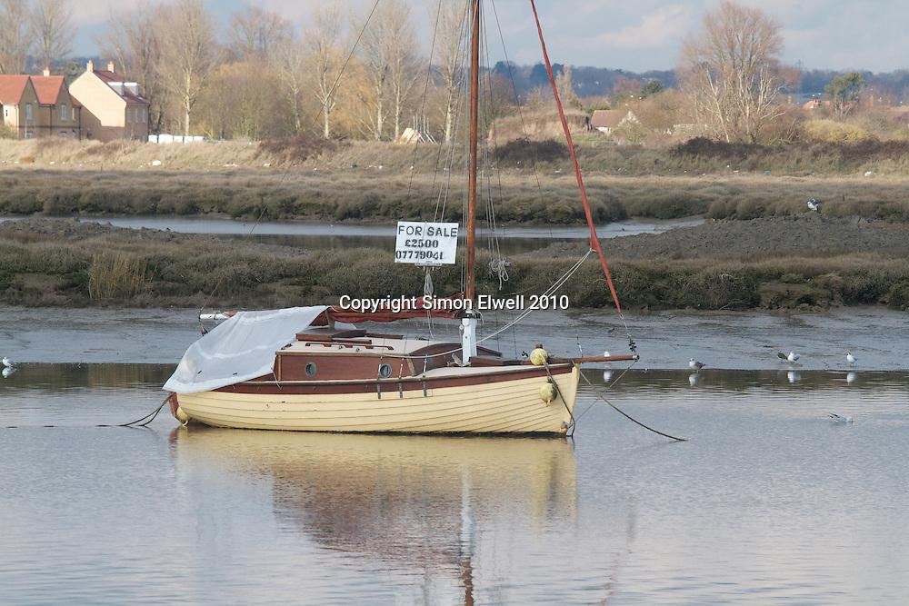 Boat on a winter mooring near Maldon