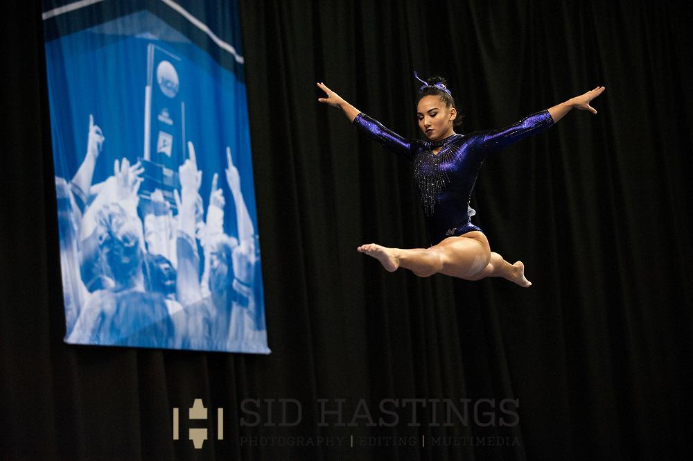 21 APRIL 2018 -- ST. LOUIS -- LSU gymnast Myia Hambrick competes on the Beam during the 2018 NCAA Women's Gymnastics Championship Super Six at Chaifetz Arena in St. Louis Saturday, April 21, 2018.<br /> Photo &copy; copyright 2018 Sid Hastings.