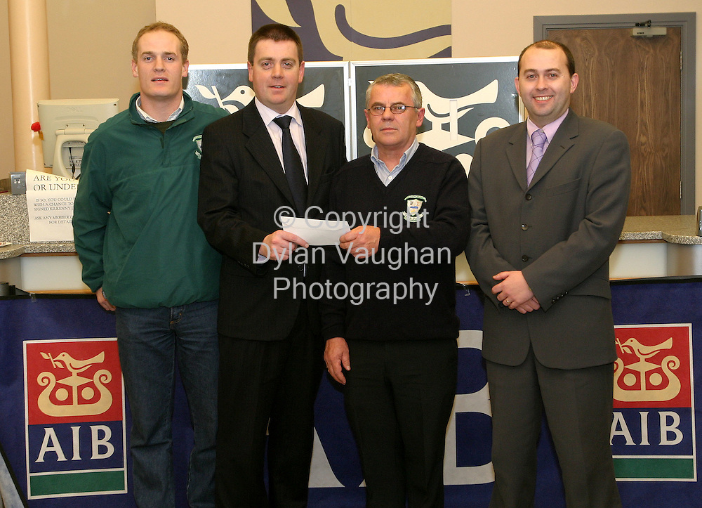 """Presentation of AIB GAA Club Development Grant to O'Loughlin Gaels GAA Club - winners of the Kilkenny & Leinster Senior Hurling Championship"".Pictured at the presentation at the Allied Irish Bank on High Street Kilkenny was from left Colin Furlong player, Eddie Buckley Regional Director Allied Irish Bank, John Sheehan Chairman O'Loughlin Gaels GAA Club and Mark Fitzharris Branch Manager Allied Irish Bank High Street..Picture Dylan Vaughan"