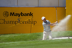 February 3, 2018 - Shah Alam, Kuala Lumpur, Malaysia - Graeme Storm is seen taking a shot from a bunker at hole no 18 on day 3 at the Maybank Championship 2018...The Maybank Championship 2018 golf event is being hosted on 1st to 4th February at Saujana Golf & Country Club. (Credit Image: © Faris Hadziq/SOPA via ZUMA Wire)