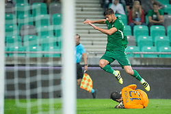 Rok Kronaveter of NK Olimpija Ljubljana and Vagner of Qarabag FK during 1st Leg football match between NK Olimpija Ljubljana (SLO) and Qarabag FK (AZE) in First qualifying round of UEFA Champions League 2018/19, on July 11, 2018 in SRC Stozice, Ljubljana, Slovenia. Photo by Urban Urbanc / Sportida