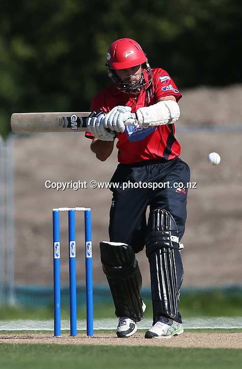 Dean Brownlie of the Wizards batting during the Ford Trophy cricket match between the Canterbury Wizards v Northern Knights at Hagley Oval, Christchurch. 26 March 2014 Photo: Joseph Johnson/www.photosport.co.nz