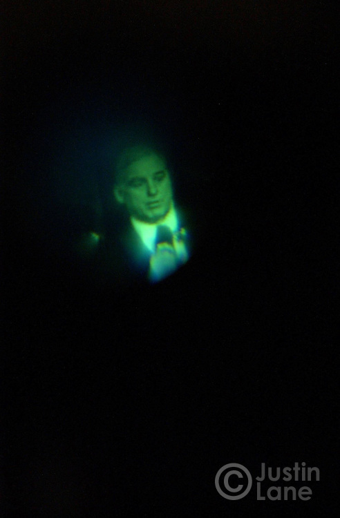 Former Vermont Governor Howard Dean is seen in a video  view screen during a campaign event at the Palace Theater in Manchester, NH Monday 26 JAN 2004.<br />