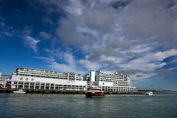Ferries shuttle passengers past Princes Wharf, Waitemata Harbour, Auckland, New Zealand