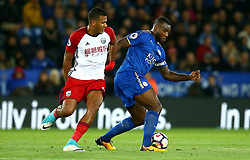 Wes Morgan of Leicester City takes on Jose Salomon Rondon of West Bromwich Albion - Mandatory by-line: Robbie Stephenson/JMP - 16/10/2017 - FOOTBALL - King Power Stadium - Leicester, England - Leicester City v West Bromwich Albion - Premier League