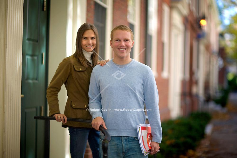 Siblings, Tracy Alexandra and Christian Bjelland on the Harvard University Campus, Thursday, Oct. 25, 2007. Photographer: Robert Caplin
