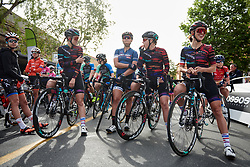 CANYON//SRAM Racing wait for the start at Amgen Tour of California Women's Race empowered with SRAM 2019 - Stage 3, a 126 km road race from Santa Clarita to Pasedena, United States on May 18, 2019. Photo by Sean Robinson/velofocus.com