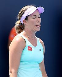 March 24, 2019 - Miami, FL, USA - Danielle Collins reacts after missing a ball as she plays Yafan Wang on Sunday, March, 24, 2019 at the Miami Open in Miami Gardens, Fla. (Credit Image: © Charles Trainor Jr/Miami Herald/TNS via ZUMA Wire)