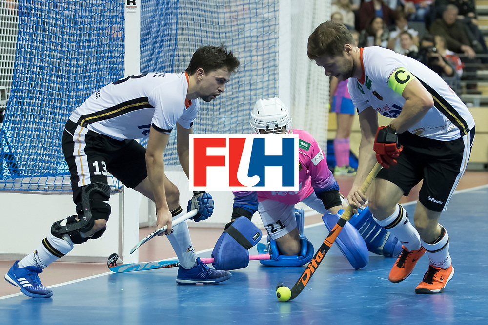 Hockey, Seizoen 2017-2018, 09-02-2018, Berlijn,  Max-Schmelling Halle, WK Zaalhockey 2018 MEN, Germany - Switzerland 3-0, Tobias Hauke, Tobias Walter (GK)  and Martin Häner. Worldsportpics copyright Willem Vernes