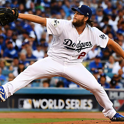 Los Angeles Dodgers starting pitcher Clayton Kershaw throws to the plate against the Houston Astros in the first inning of game one of a World Series baseball game at Dodger Stadium on Tuesday, Oct. 24, 2017 in Los Angeles. (Photo by Keith Birmingham, Pasadena Star-News/SCNG)