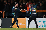 Braintree Town Manager Danny Cowley (left) celebrates the goal of Kenny Davis of Braintree Town to make the scoreline 1-1 with his Brother Nicky Cowley during the FA Cup match between Braintree Town and Oxford United at the Avanti Stadium, Braintree<br /> Picture by Richard Blaxall/Focus Images Ltd +44 7853 364624<br /> 08/11/2015