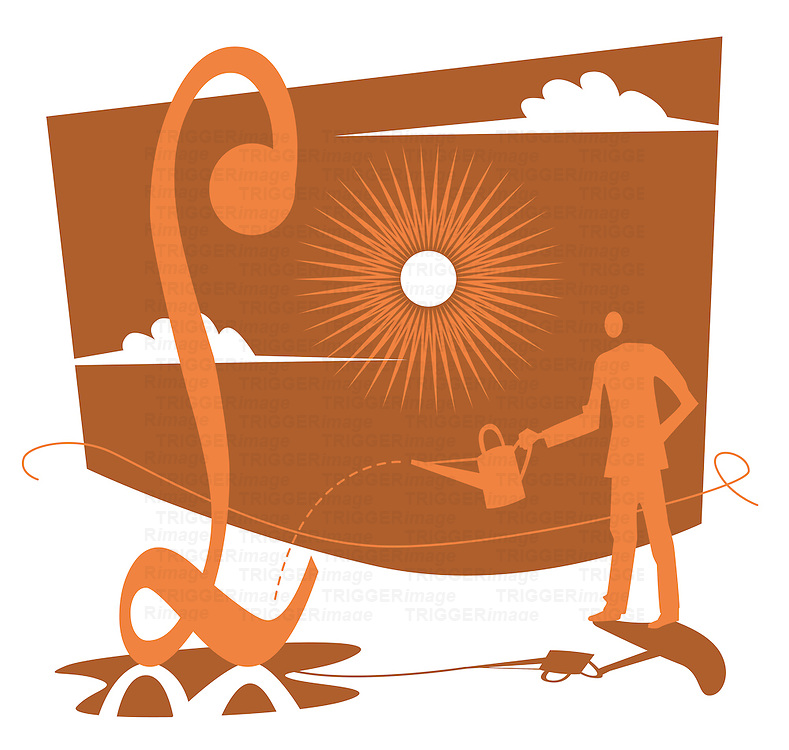 Conceptual illustration of financial investment with male figure watering money symbol with sun in background