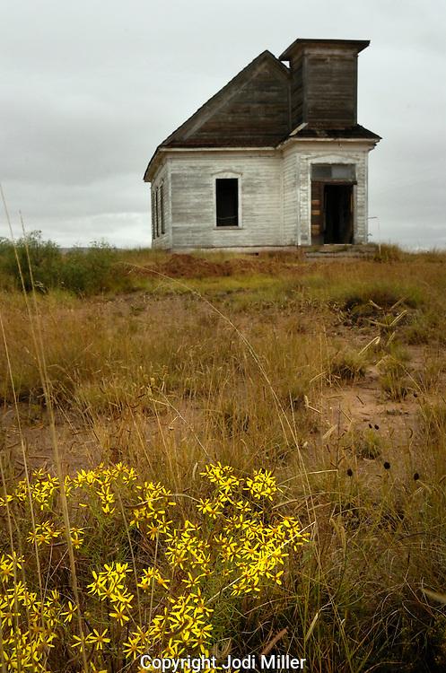 A run down church in the desert of New Mexico.